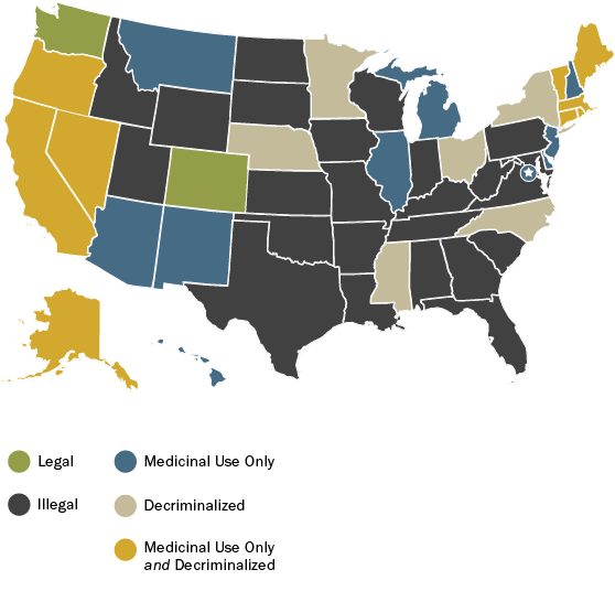 Marijuana In America Shifting Attitudes Events And Laws Pew - Us map on weed laws