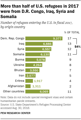 More than half of U.S. refugees in 2017 were from D.R. Congo, Iraq, Syria and Somalia