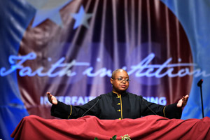 Pentecostal minister Leah Daughtry speaks at the Interfaith Gathering of the 2008 Democratic Convention. Democrats have stepped up their religious outreach efforts in 2008.
