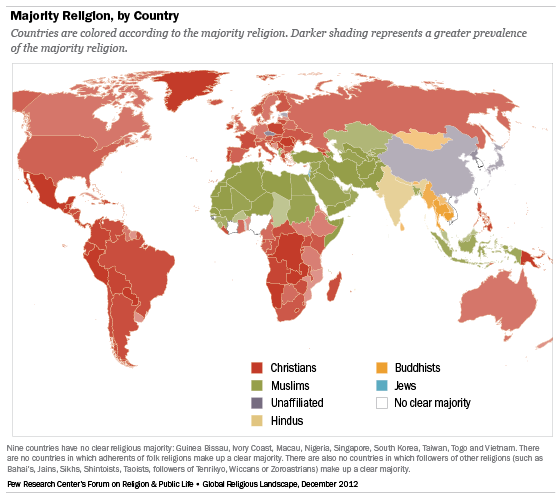 The Global Religious Landscape Pew Research Center - Religion map of world 2014