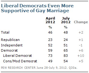 views on gay marriage Democratic