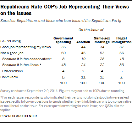 Republicans Rate GOP's Job Representing Their Views on the Issues