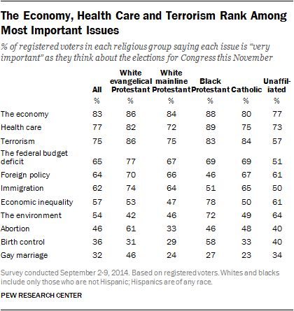 The Economy, Health Care and Terrorism Rank Among Most Important Issues