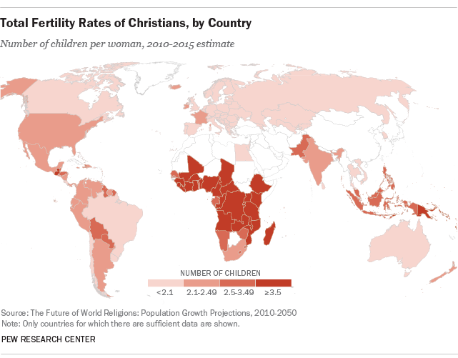 Total Fertility Rates of Christians, by Country