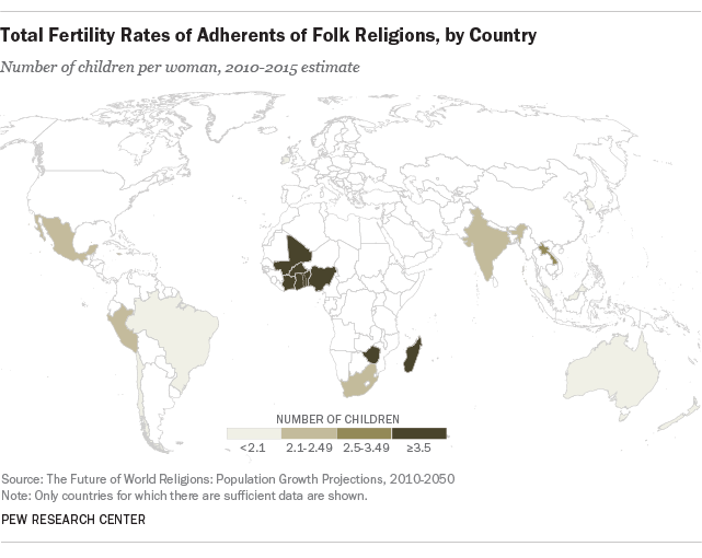 Total Fertility Rates of Adherents of Folk Religions, by Country