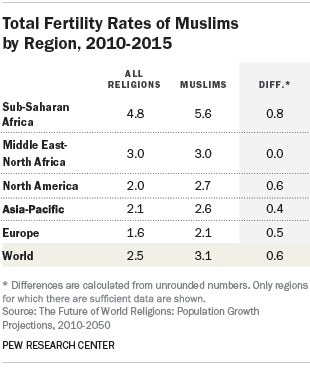 Total Fertility Rates of Muslims by Region, 2010-2015
