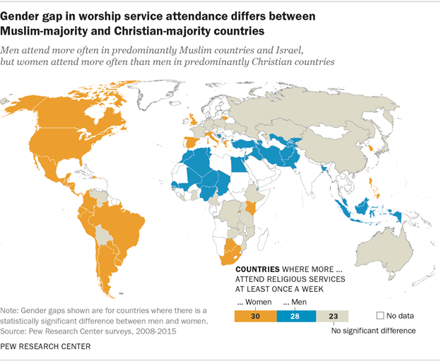 The Gender Gap In Religion Around The World Pew Research Center - Religion map of world 2014