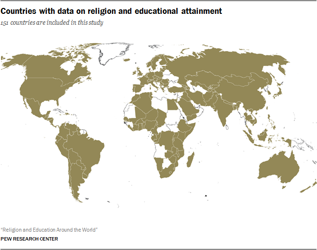 Countries with data on religion and educational attainment