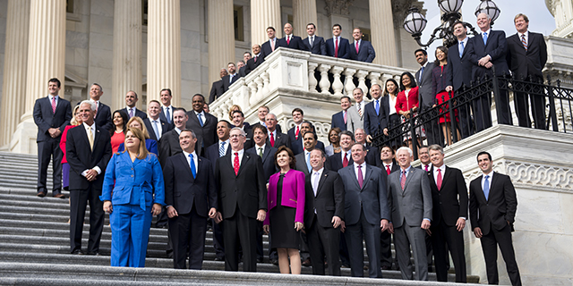 UNITED STATES - NOVEMBER 15: The freshman class of the 115th Congress poses for their group photo on the House steps of the U.S. Capitol during orientation week in Washington on Tuesday, Nov. 15, 2016. (Photo By Bill Clark/CQ Roll Call)