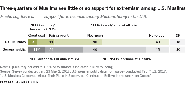 Three-quarters of Muslims see little or no support for extremism among U.S. Muslims