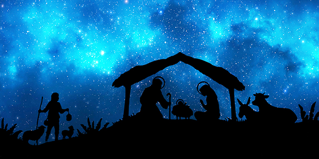 Representation of Christmas Nativity scene. Holy Family figurines under a hut in the desert, cow, donkey, a shepherd and two sheep are in silhouette style at foreground. In the background, a beautiful blue starly sky. XXXL concept image image.