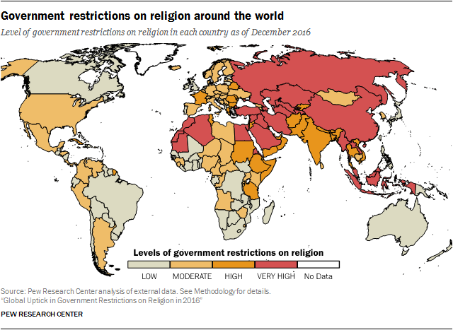 Government restrictions on religion around the world