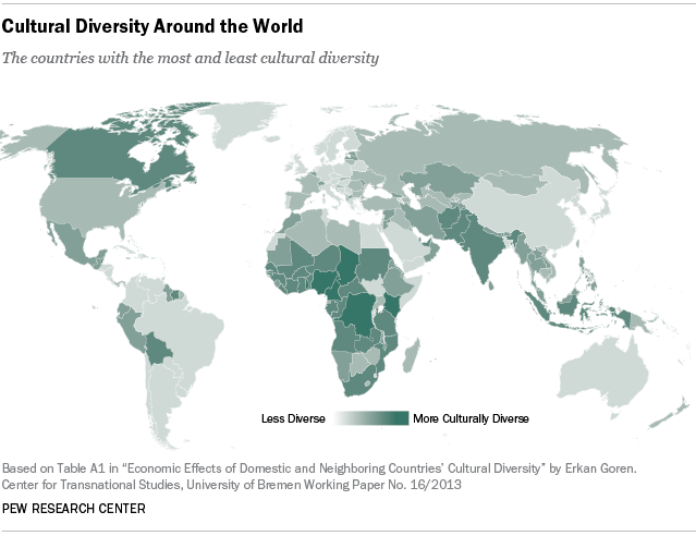 The Most And Least Culturally Diverse Countries In The World - Language wise map of world