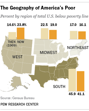 Whos Poor In America Years Into The War On Poverty A Data - Us poverty map census bereau