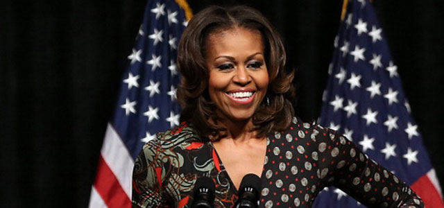 First lady Michelle Obama speaks to students about higher education. (Getty Images)