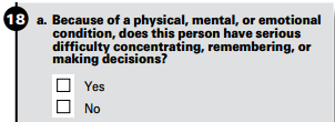 Census Bureau American Community Survey question on whether an individual is impaired