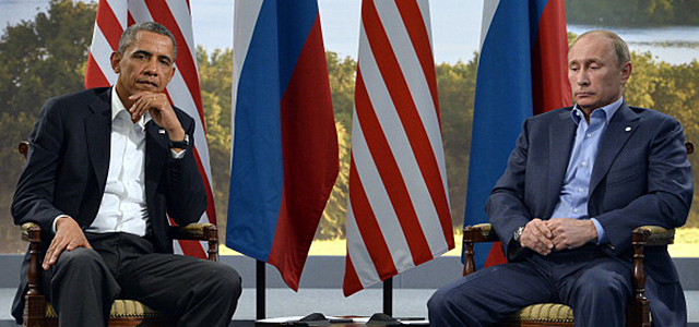 Barack Obama and Vladimir Putin meet during the G8 summit in 2013. Credit: AFP/Getty Images
