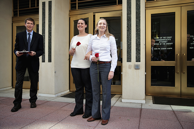 Erika Turner and Jennifer Melsop become the first same-sex couple to marry in Arlington, Va. Credit: Getty Images