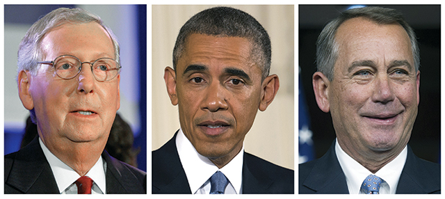 Senate Majority Leader Mitch McConnell, President Barack Obama, House Speaker John Boehner