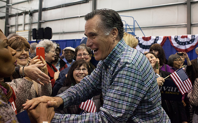Mitt Romney campaigning this past November for Alaska Senate candidate Dan Sullivan. (David Ryder/Getty Images)