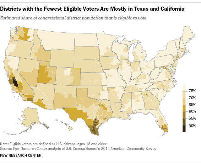 Districts with the Fewest Eligible Voters Are Mostly in Texas and California