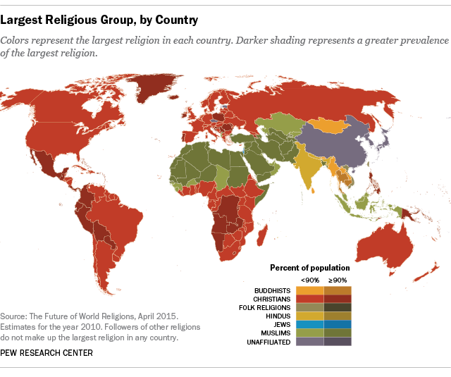 Largest Religious Groups, by Country