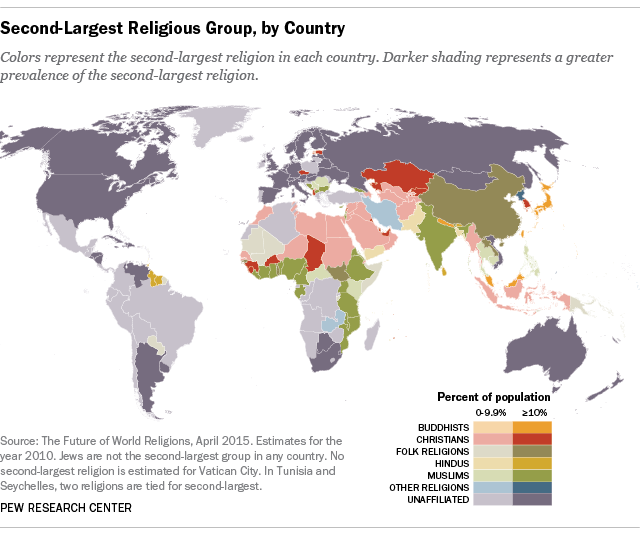 What Is Each Countrys Secondlargest Religious Group Pew - World's largest religions in order