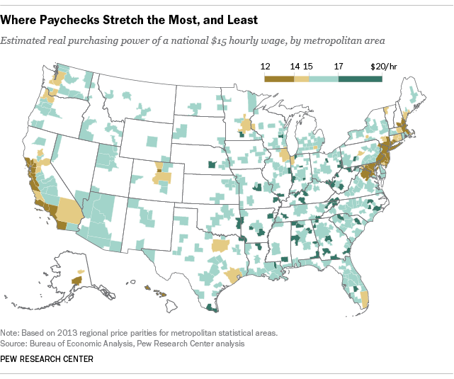 Where Paychecks Stretch the Most, and Least
