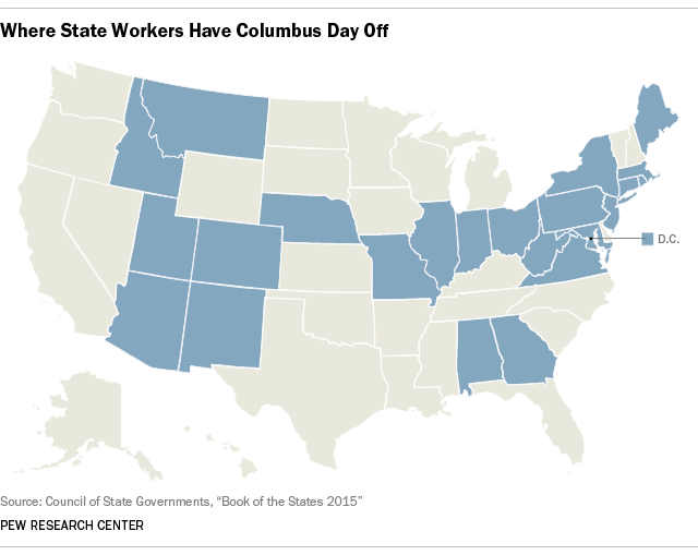 Working On Columbus Day It Depends On Where You Live Pew - Us map states only