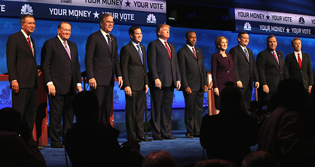 Presidential candidates take the stage at the CNBC Republican Presidential Debate at University of Colorados Coors Events Center October 28, 2015 in Boulder, Colorado. (Justin Sullivan/Getty Images)