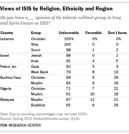 Views of ISIS by Religion, Ethnicity and Region