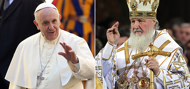 Composite image of Pope Francis and Russian Orthodox Patriarch Kirill