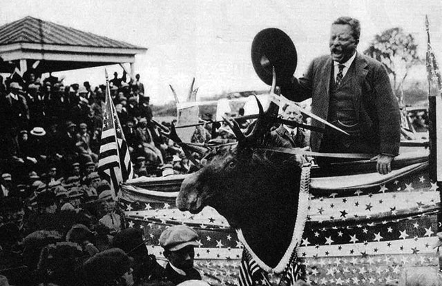 "Former President Theodore Roosevelt campaigns in Morrisville, Vermont, on Aug. 30, 1912. After failing to win the Republican Party nomination for president that year, Roosevelt instead ran on the Progressive (or ""Bull Moose"") ticket. Photo credit: NPS/Theodore Roosevelt Birthplace National Historic Site"