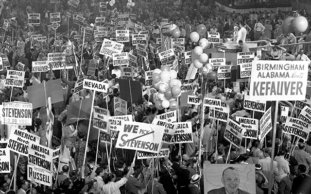 The floor of the Democratic National Convention in Chicago is jammed with cheering delegates on July 24,1952, after the name of Gov. Adlai Stevenson is placed in nomination for the presidency. Photo: AP