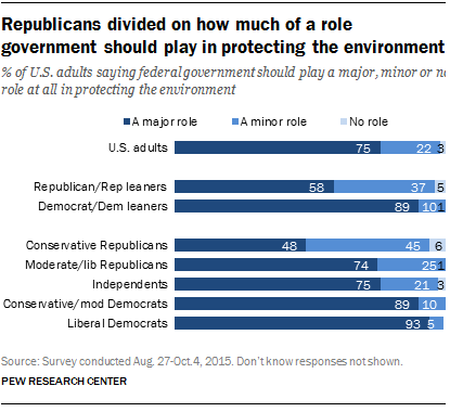 Republicans divided on how much of a role government should play in protecting the environment