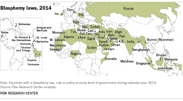 Countries having blasphemy laws