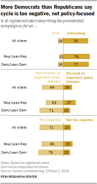 More Democrats than Republicans say cycle is too negative, not policy-focused