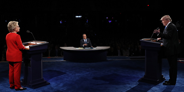 Hillary Clinton and Donald Trump face off in the first presidential debate at Hofstra University on Sept. 26. (Photo credit: Joe Raedle/AFP/Getty Images)
