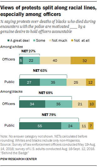 Views of protests split along racial lines, especially among officers