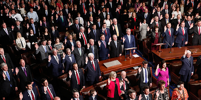 Members of the 115th U.S. Congress take their oath of office Jan. 3. (Win McNamee/Getty Images)