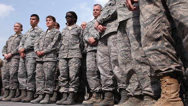 Troops assemble at Al Udeid Air Base in Qatar in December 2013. (Mark Wilson/Getty Images)