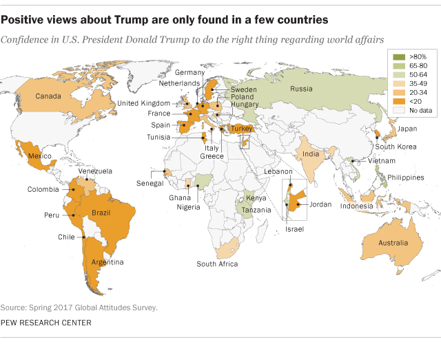 Positive views about Trump are only found in a few countries