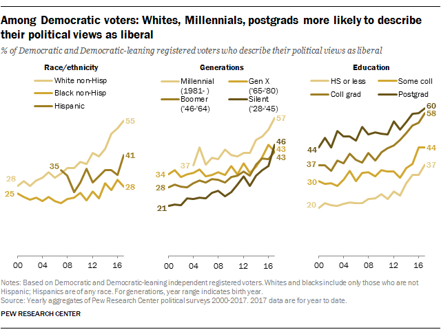 Among Democratic voters: Whites, Millennials, postgrads more likely to describe their political views as liberal