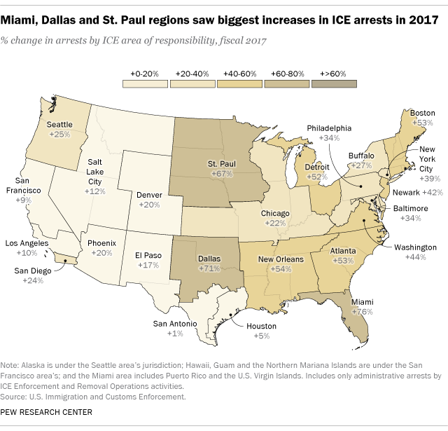 Miami, Dallas and St. Paul regions saw biggest increases in ICE arrests in 2017
