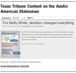 Texas Tribune Content on the Austin American Statesman