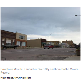 Downtown Moville, a suburb of Sioux City and home to the Moville Record.