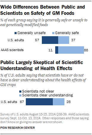 Wide Differences Between Public and Scientists on Safety of GM Foods