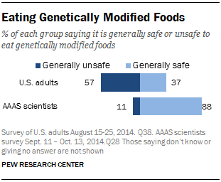 Attitudes And Beliefs On Science And Technology Topics  Pew  Safety Of Genetically Modified Foods  Point Gap