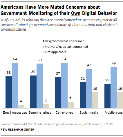 Americans Have More Muted Concerns about Government Monitoring of their Own Digital Behavior