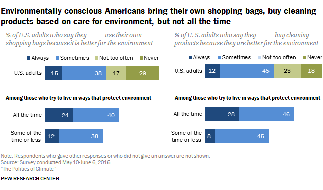 Environmentally conscious Americans bring their own shopping bags, buy cleaning products based on care for environment, but not all the time